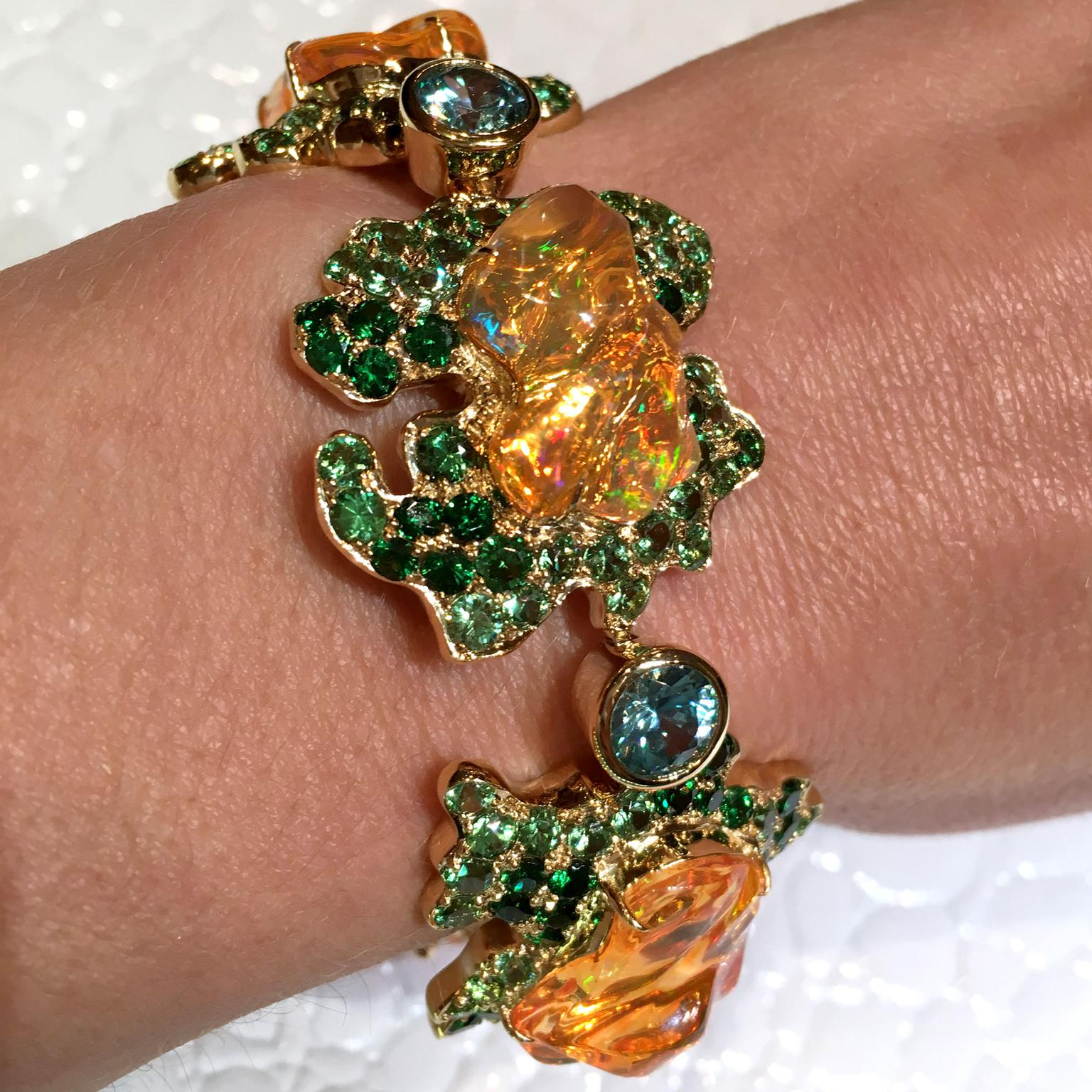 Paula Crevoshay Queen of Tiye Mexican fire opal bracelet