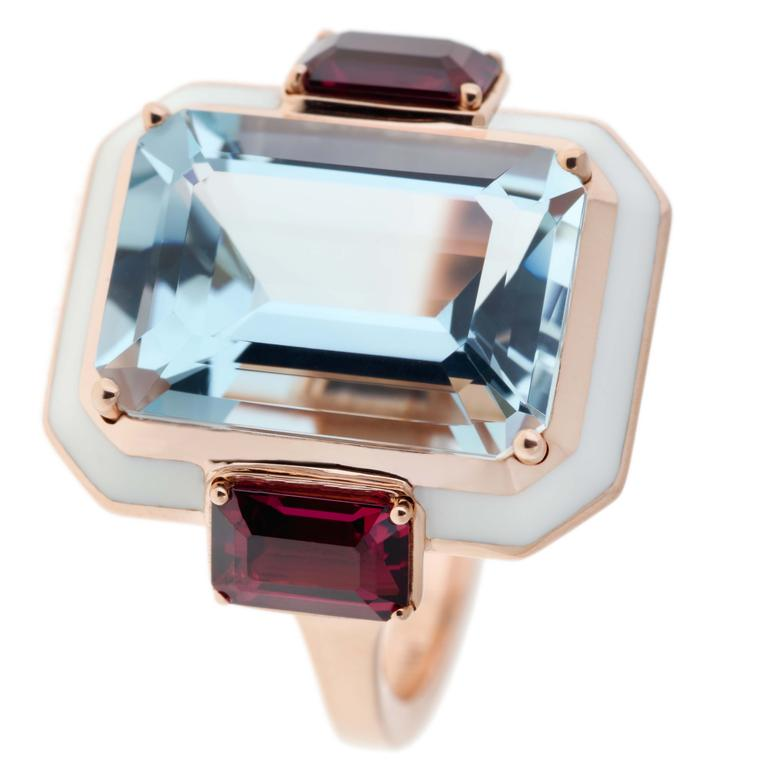 Aquamarine and Rhodolites cocktail ring from Selim Mouzannar
