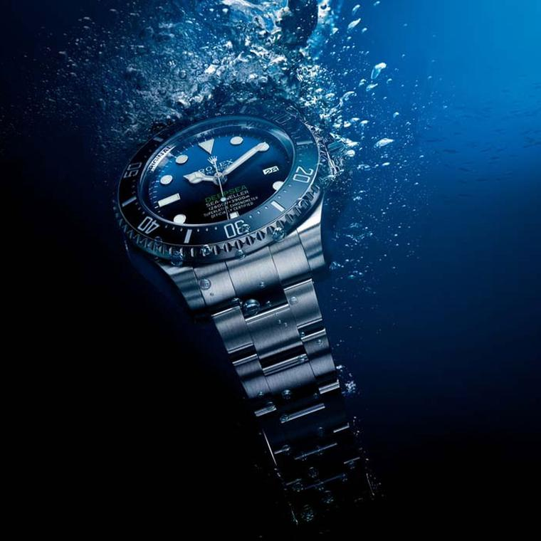The Rolex Deepsea D-Blue Dial watch features Rolex's patented helium escape valve.
