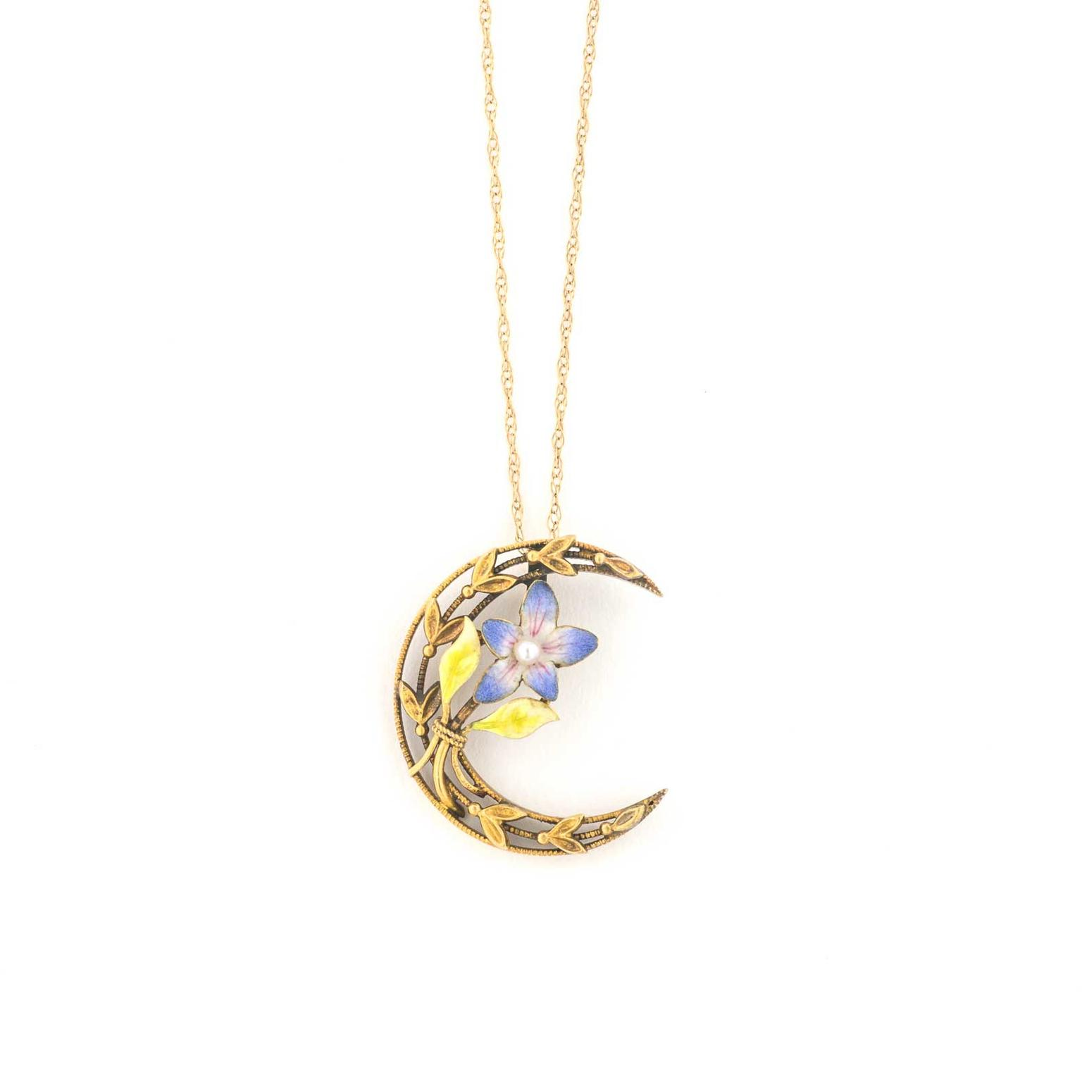 Trademark Antiques Honeymoon crescent and enamel violet necklace pendant in gold
