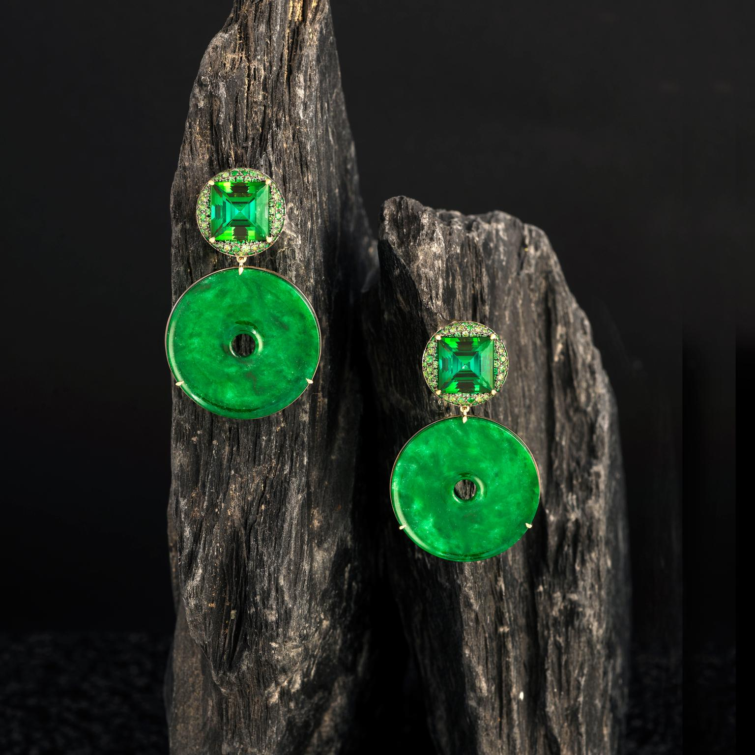 Doris Hangartner star jade earrings