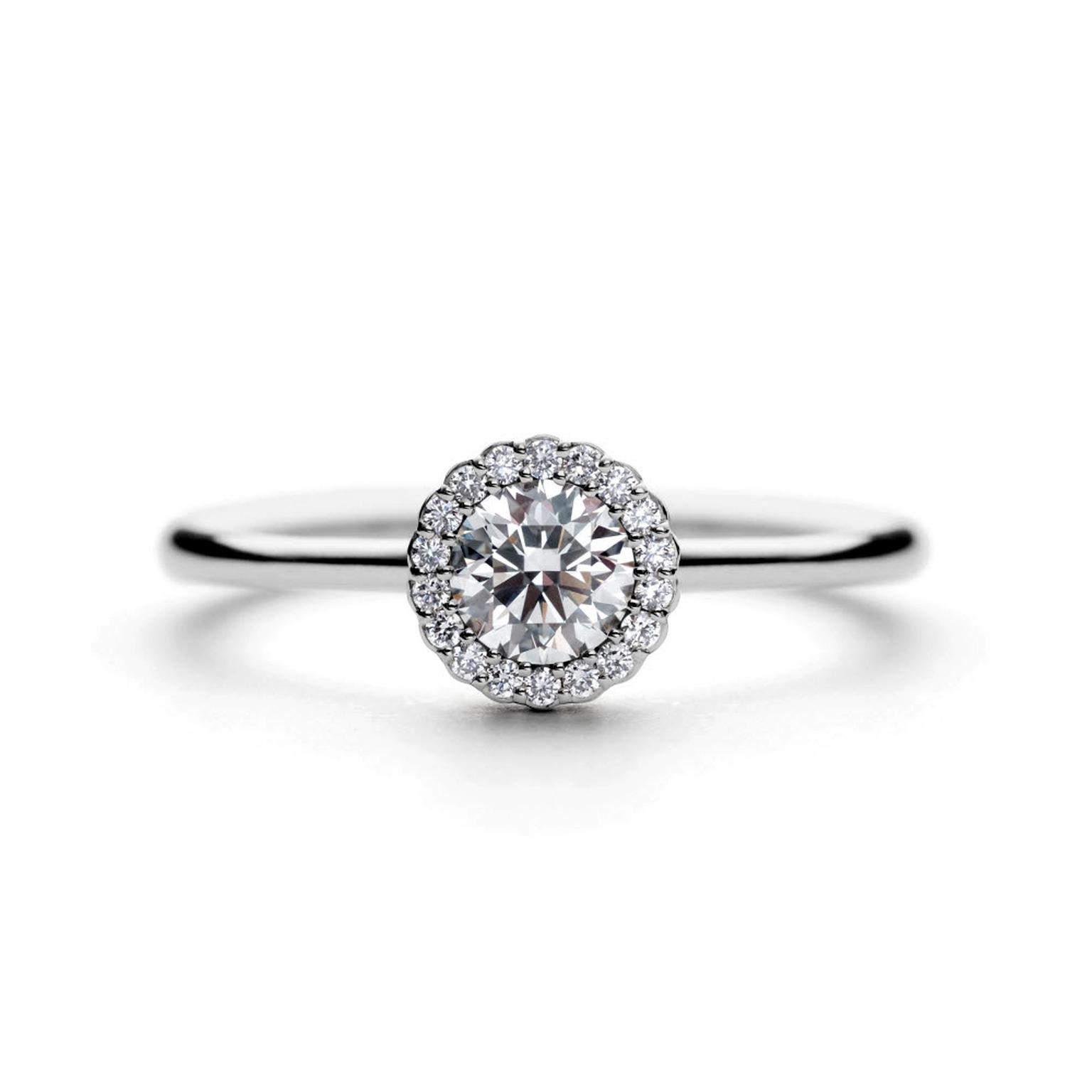 Andrew Geoghegan Cannele platinum engagement ring white background