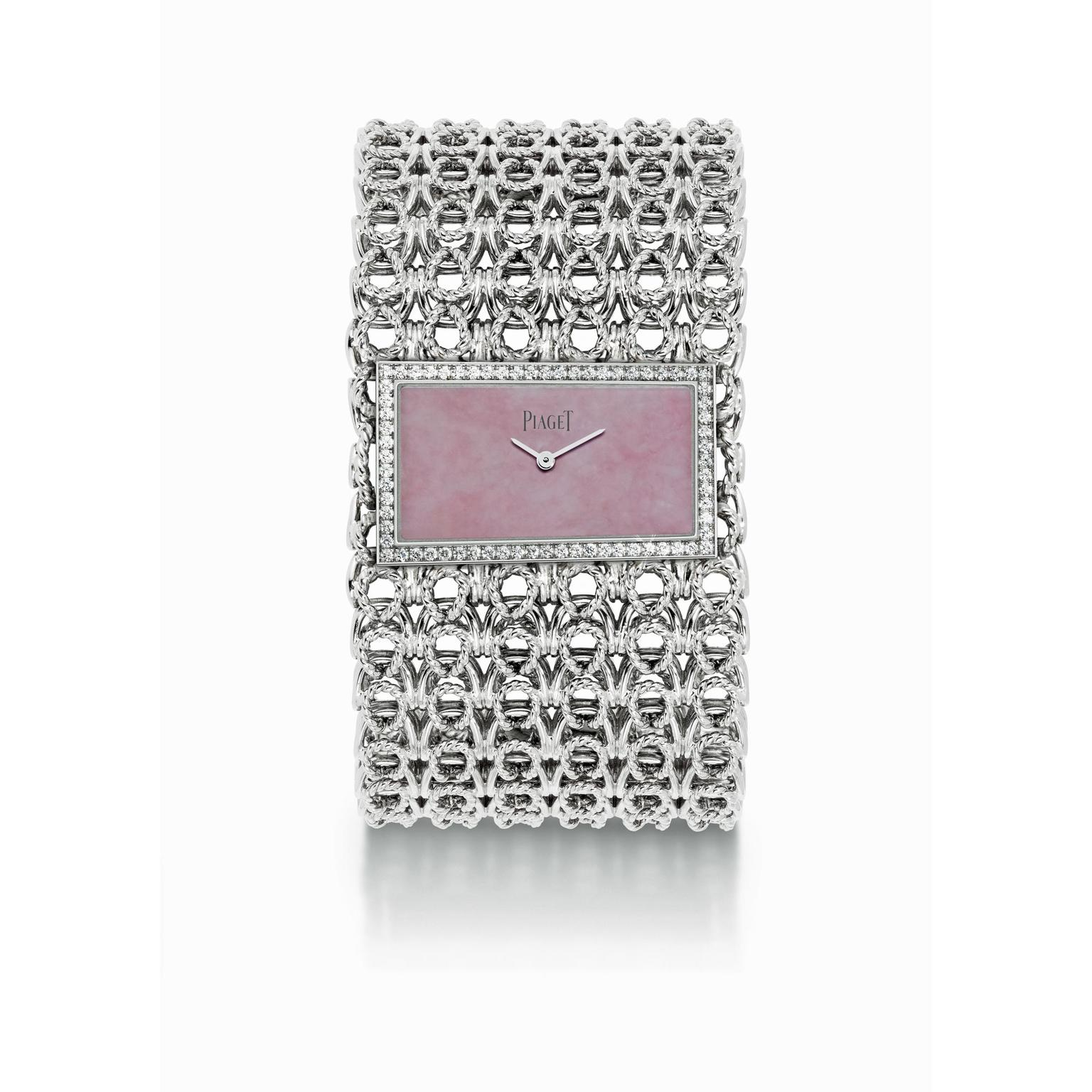 Piaget high jewellery cuff watch in white gold with an opal dial