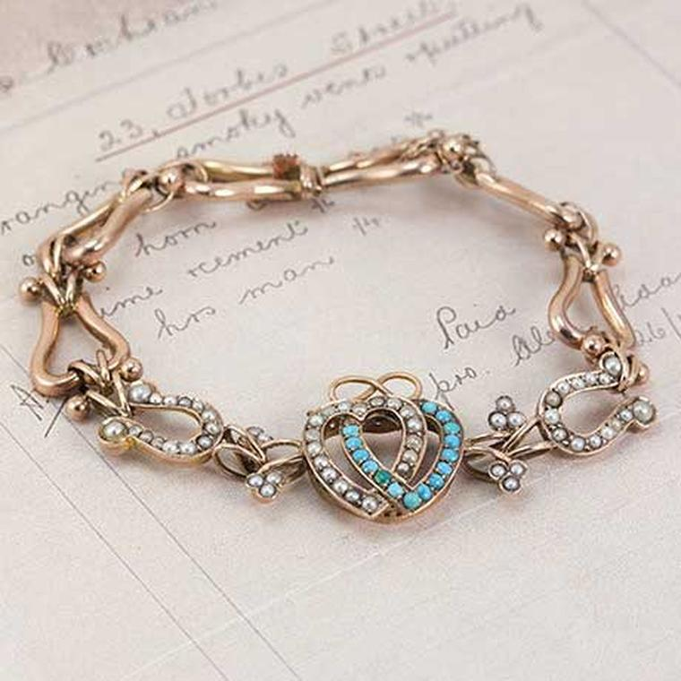 Victorian Erica Weinrad pearl and turquoise double heart bracelet