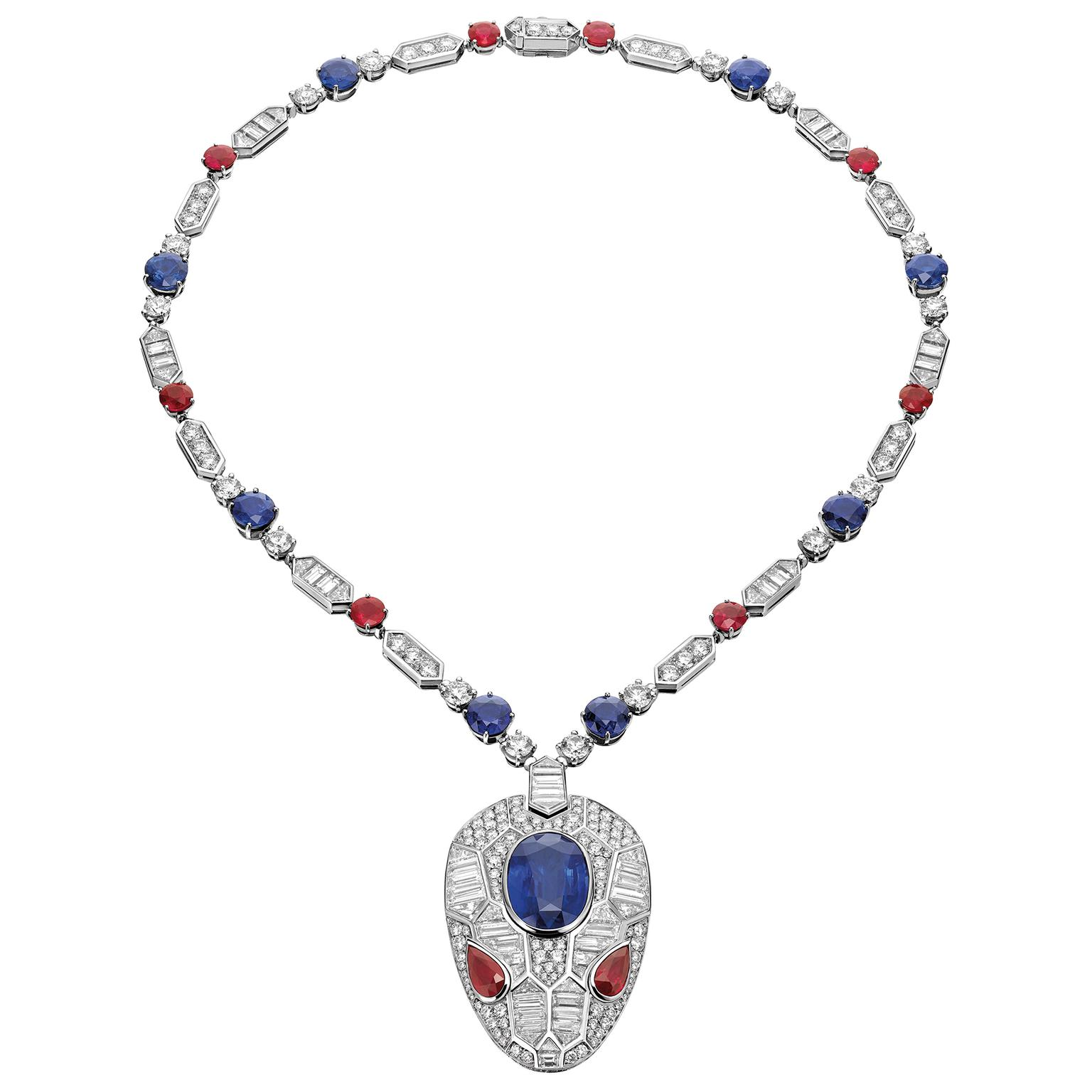 Bulgari sapphire and ruby snake's head pendant
