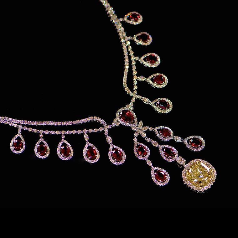 Johnathon Arndt burmese ruby yellow diamondHeartbeat necklace