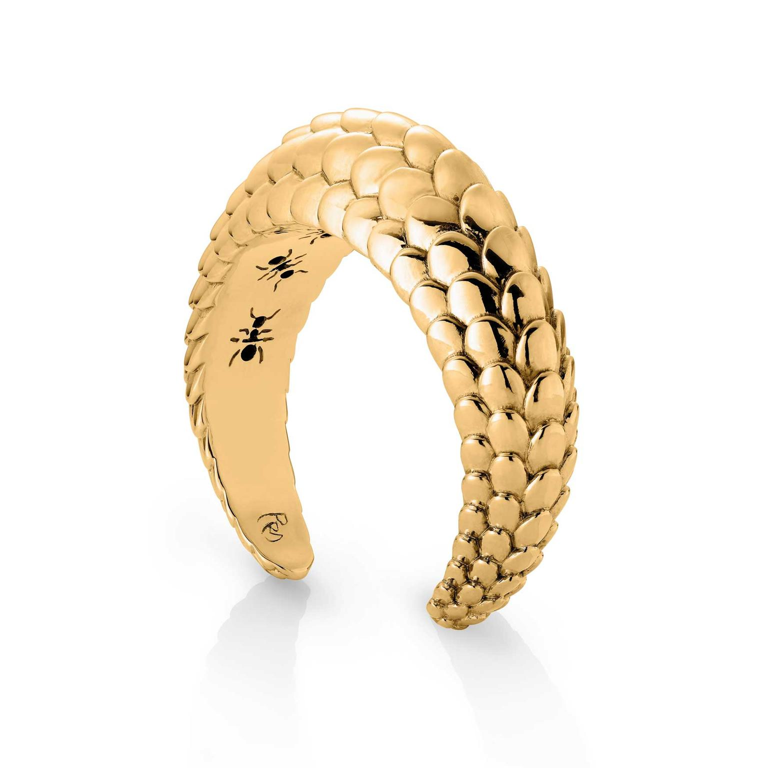 Patrick Mavros Pangolin wide yellow gold cuff