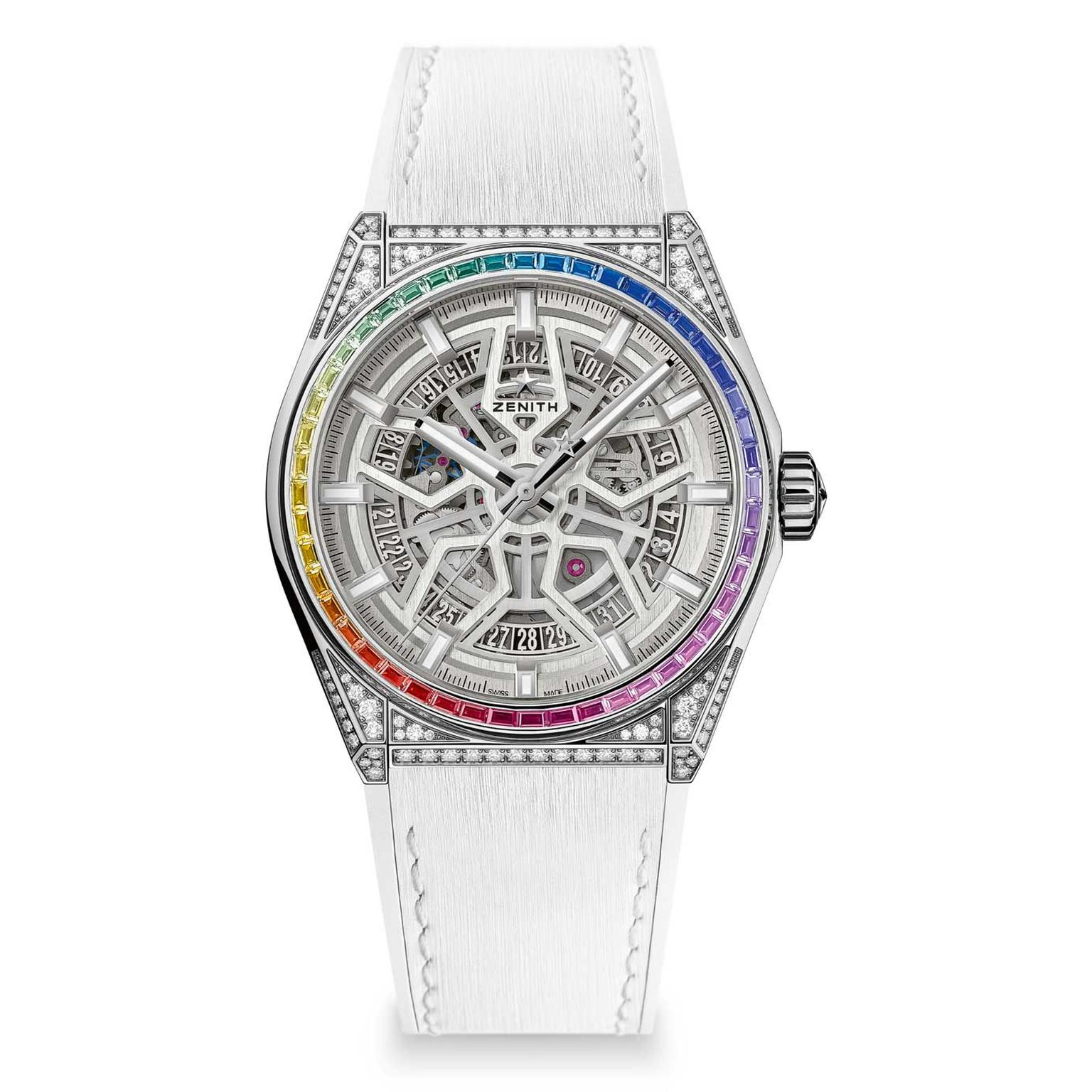 Zenith Defy Classic High Jewelry titanium Rainbow sapphire watch