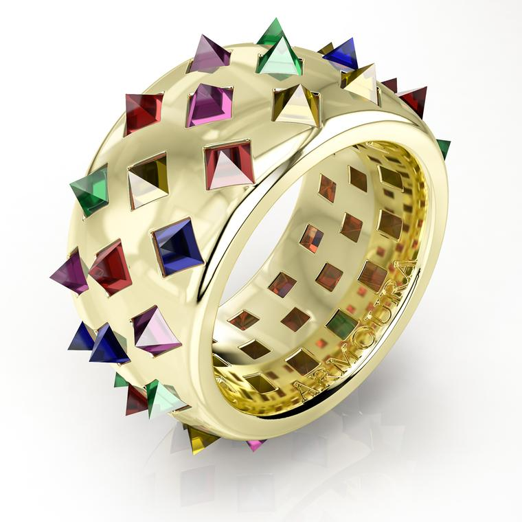 Fibonacci gold ring with coloured gemstones