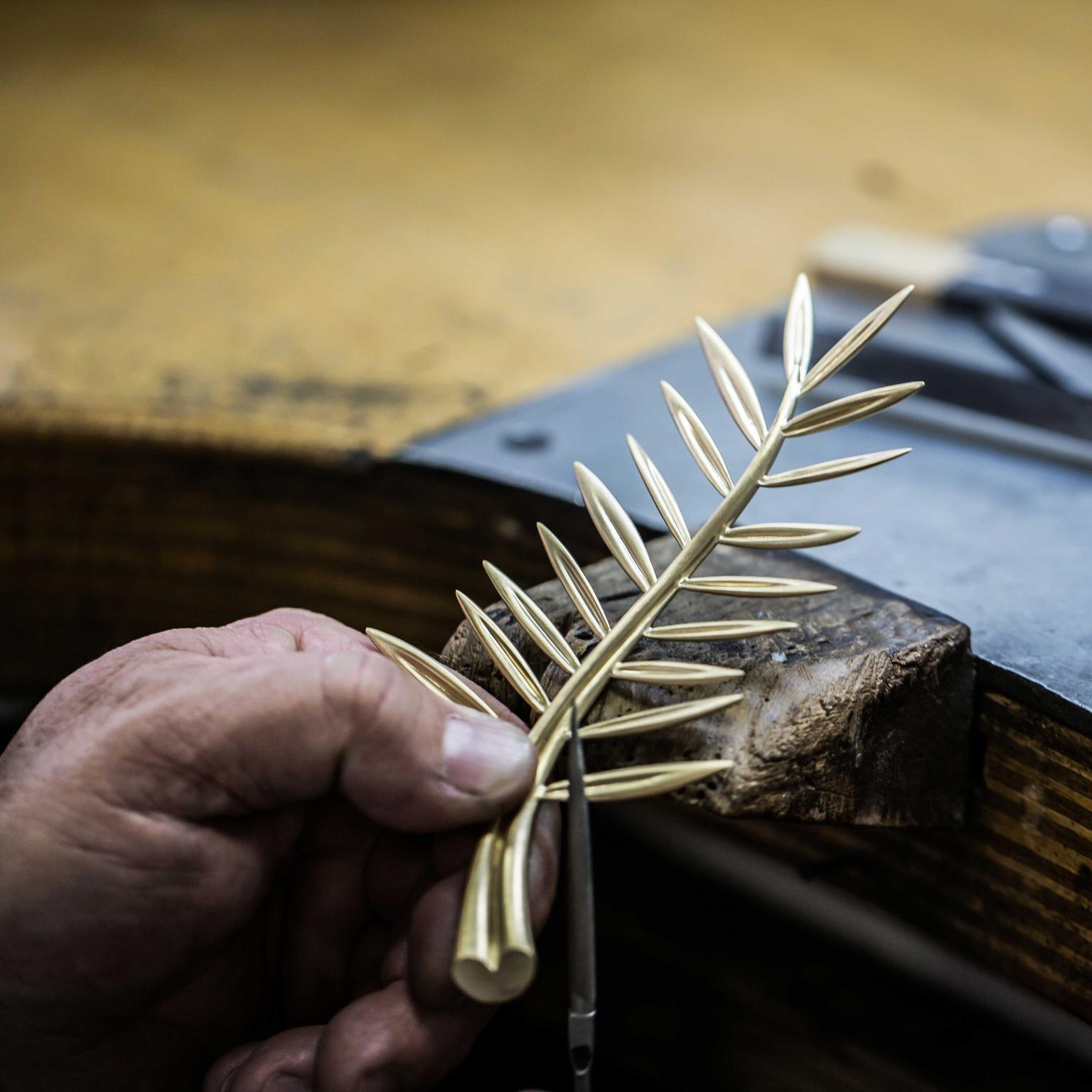 Work on the Cannes Golden Palm award created by Chopard each year in Fairmined Gold