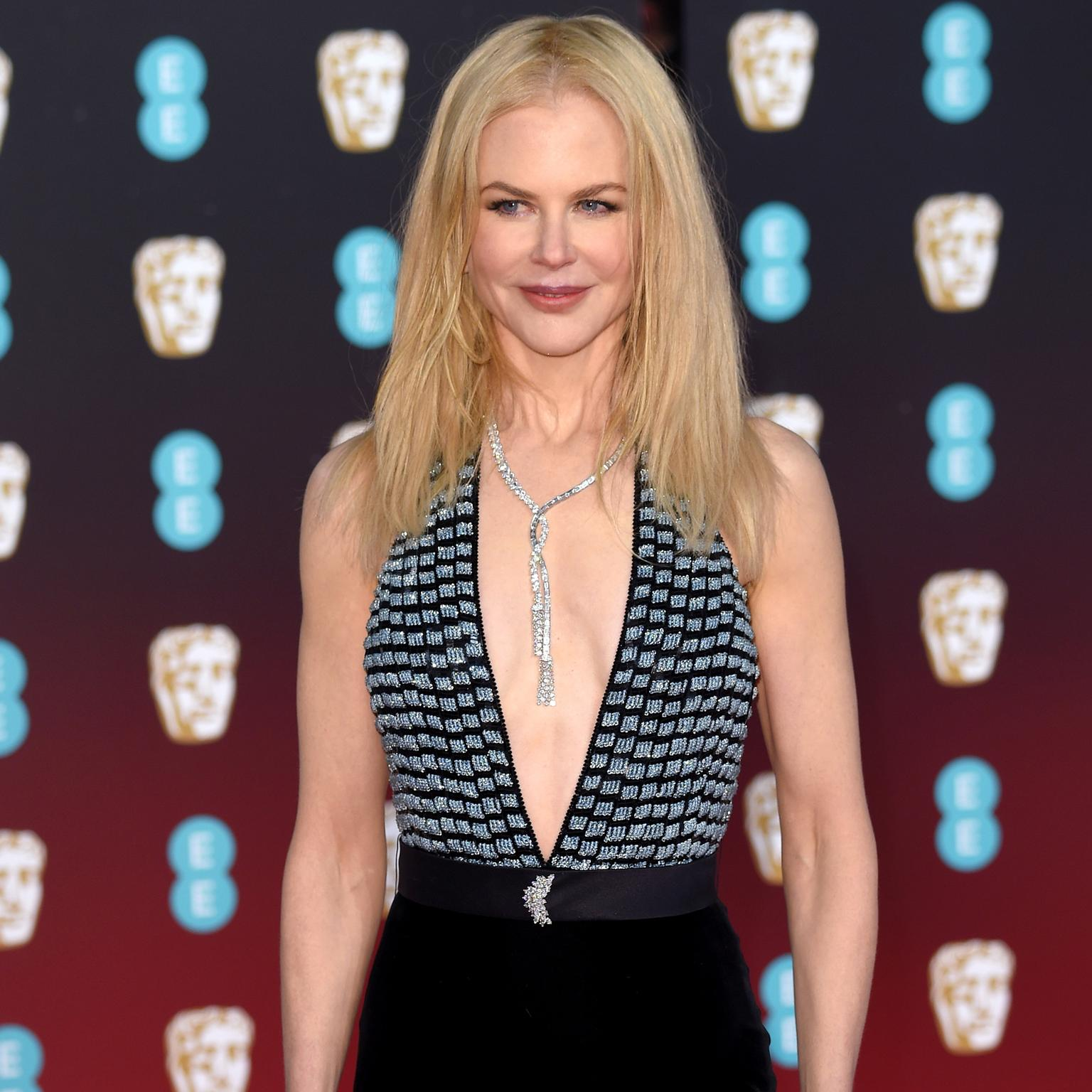 Nicole Kidman wearing a Harry Winston necklace at the 2017 BAFTAs.