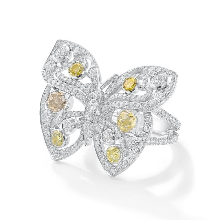 Boodles Finely Coloured Butterfly diamond ring