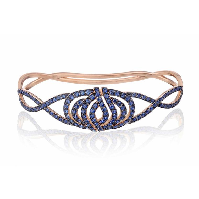 Lily Gabriella blue sapphire palm bracelet in rose gold