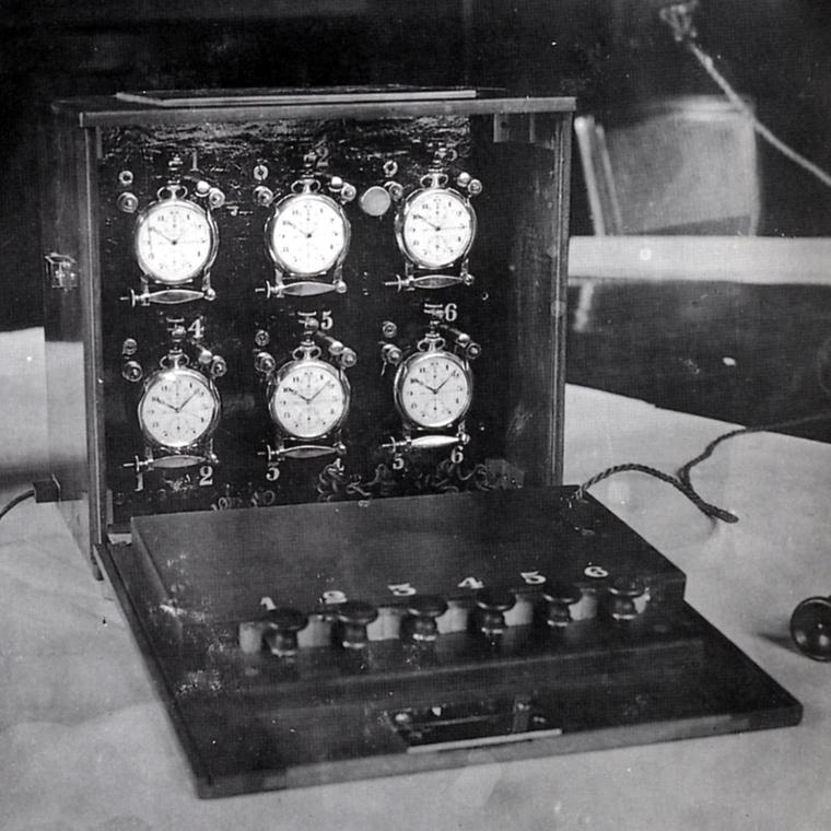 1920s briefcase with stopwatches