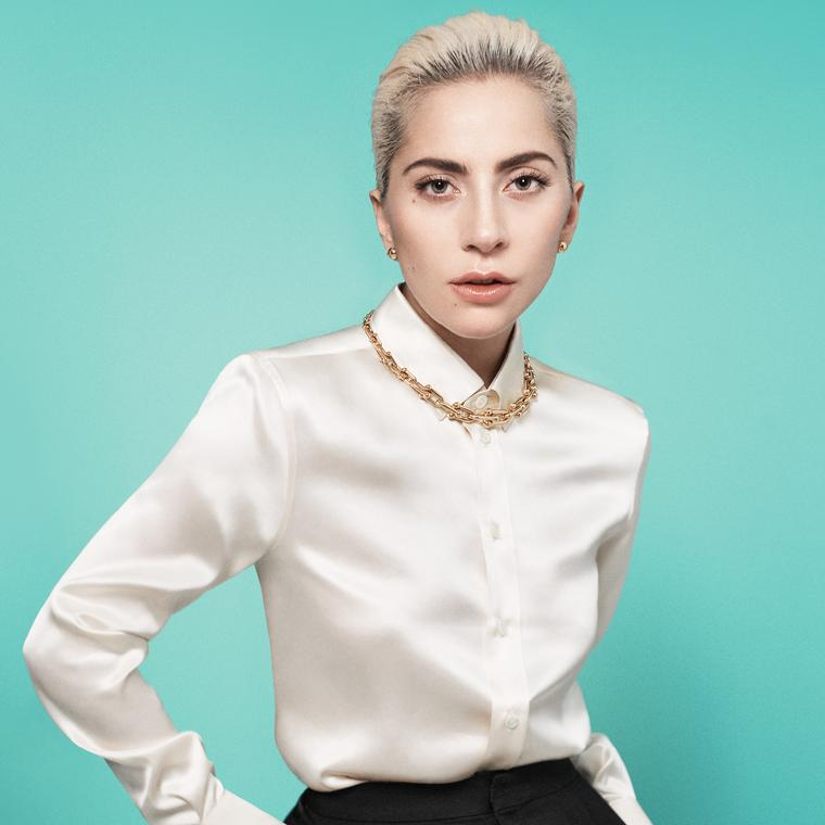 Lady Gaga models the Tiffany HardWear collection