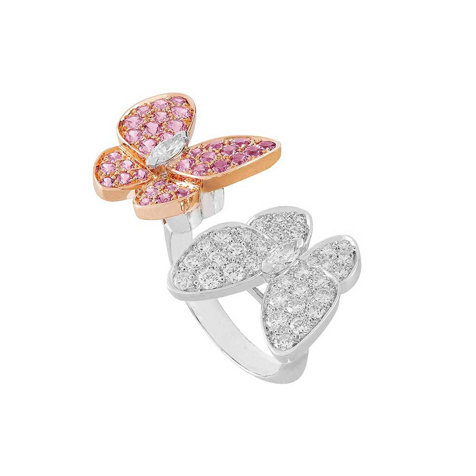 butterfly oval white pin rings ring in gold engagement diamond eyes pink
