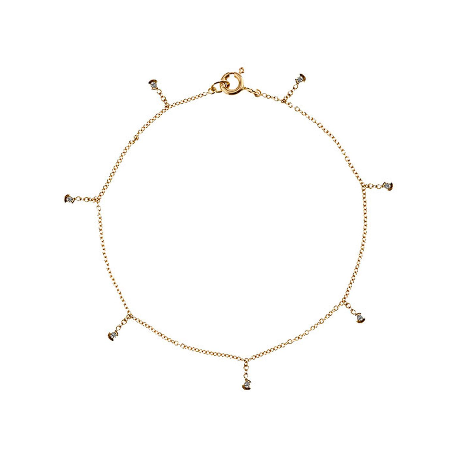 Paloma Aboy seven white diamond thin chain bracelet