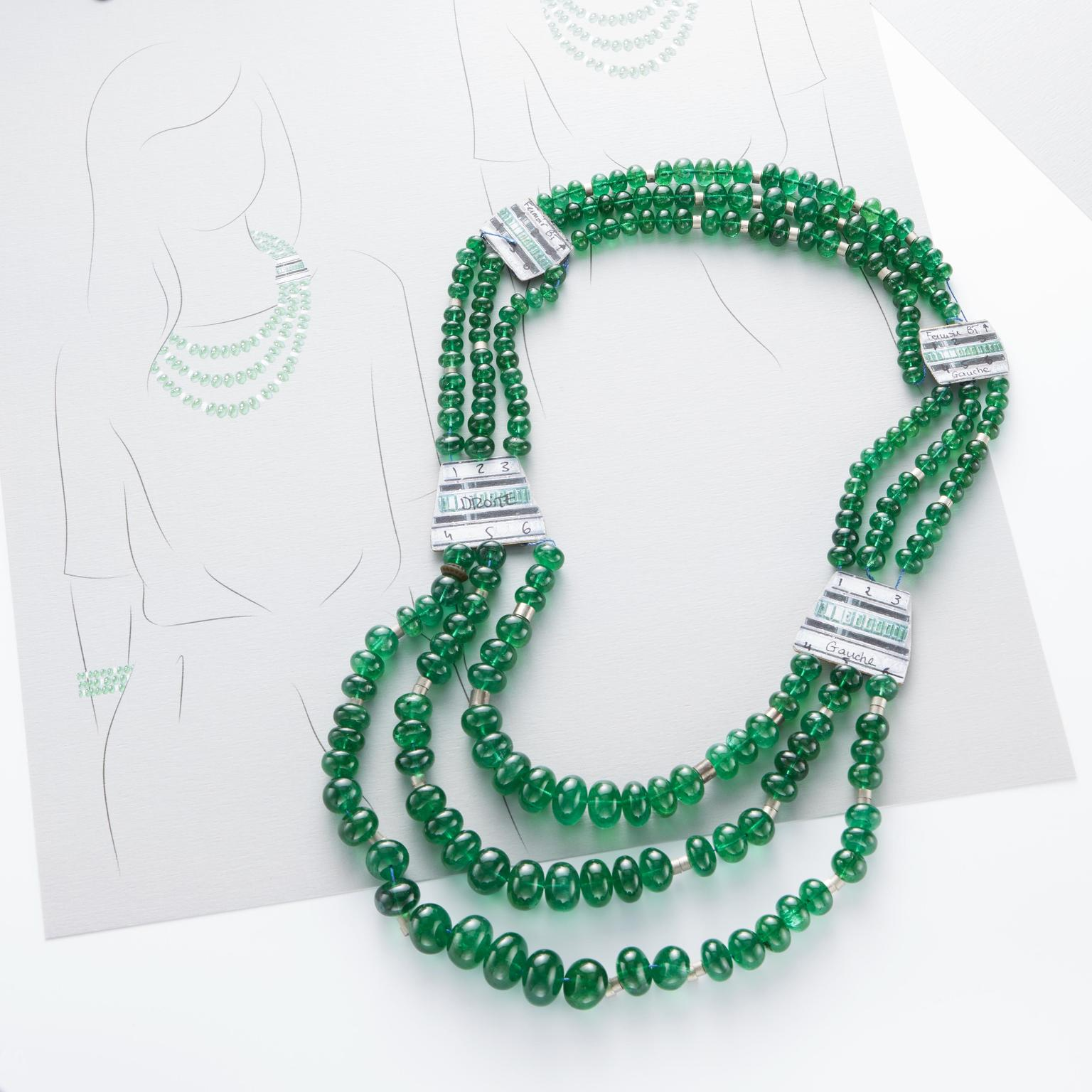 Plastron Émeraudes necklace drawing by Boucheron