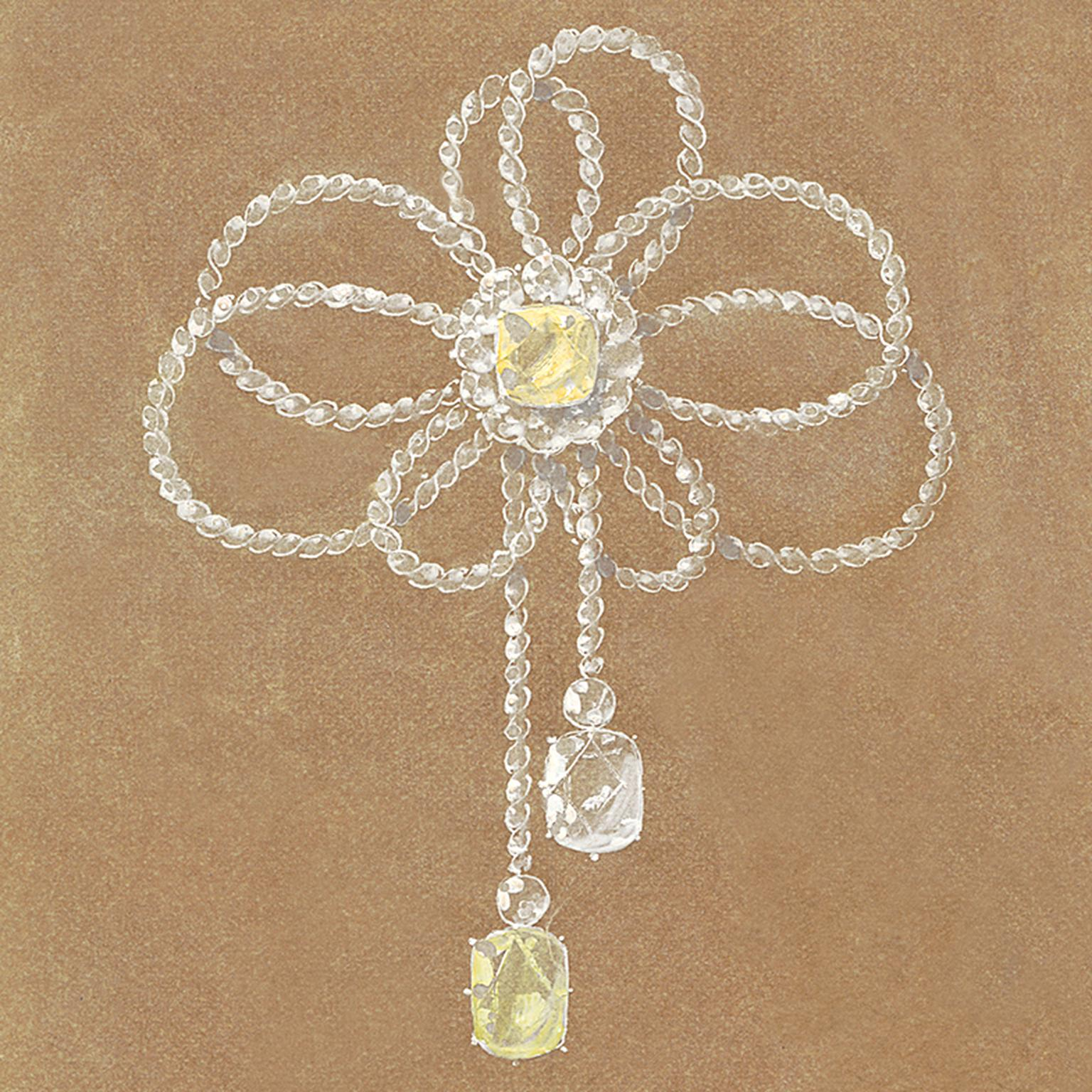Chaumet asymmetric bow knot brooch