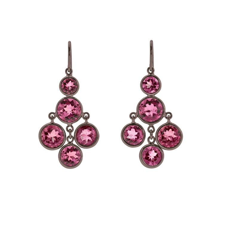 Darling Rose tourmaline and blackened gold earrings