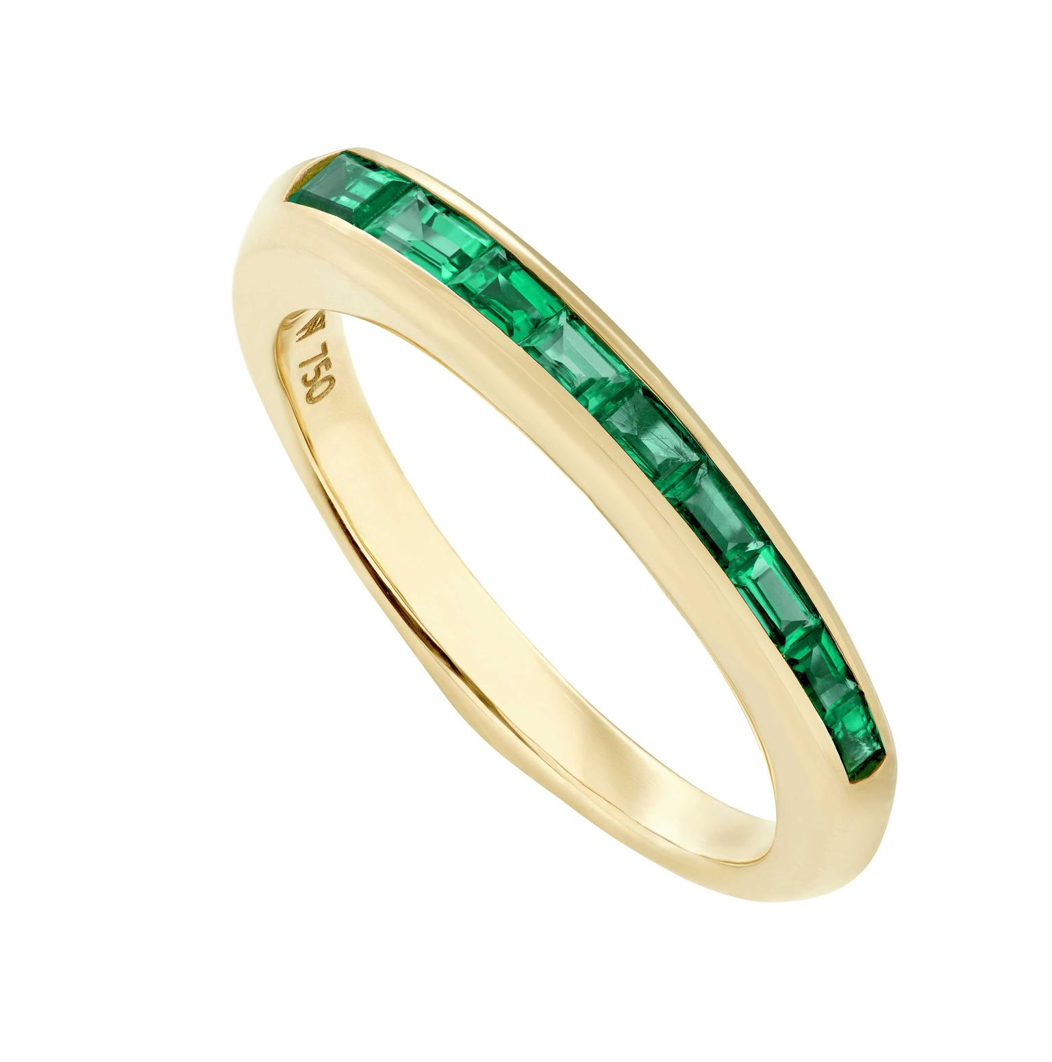 Stephen Webster CH2 Shard baguette stacking ring emeralds