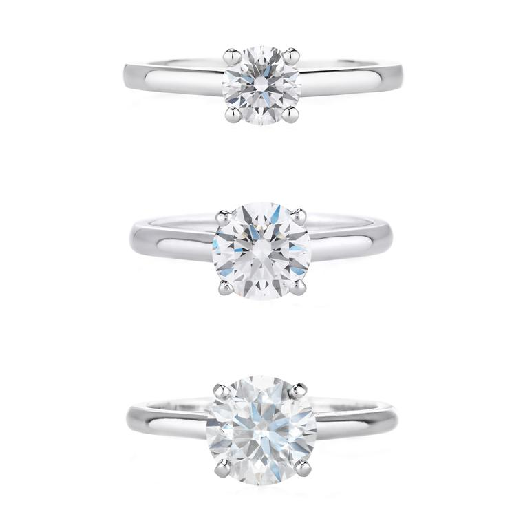 De Beers DB Classic 0.5ct, 1ct and 1.5ct engagement rings