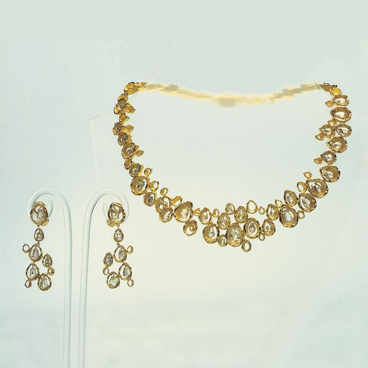 John Donald gold and diamond necklace and earrings
