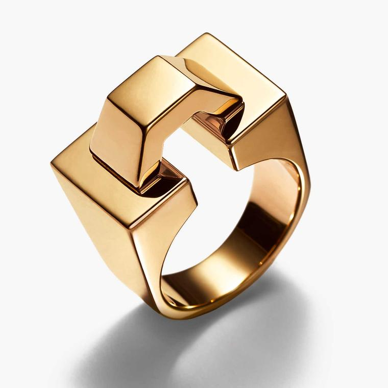 TIffany Out of Retirement Block ring in yellow gold, available at Dover Street Market