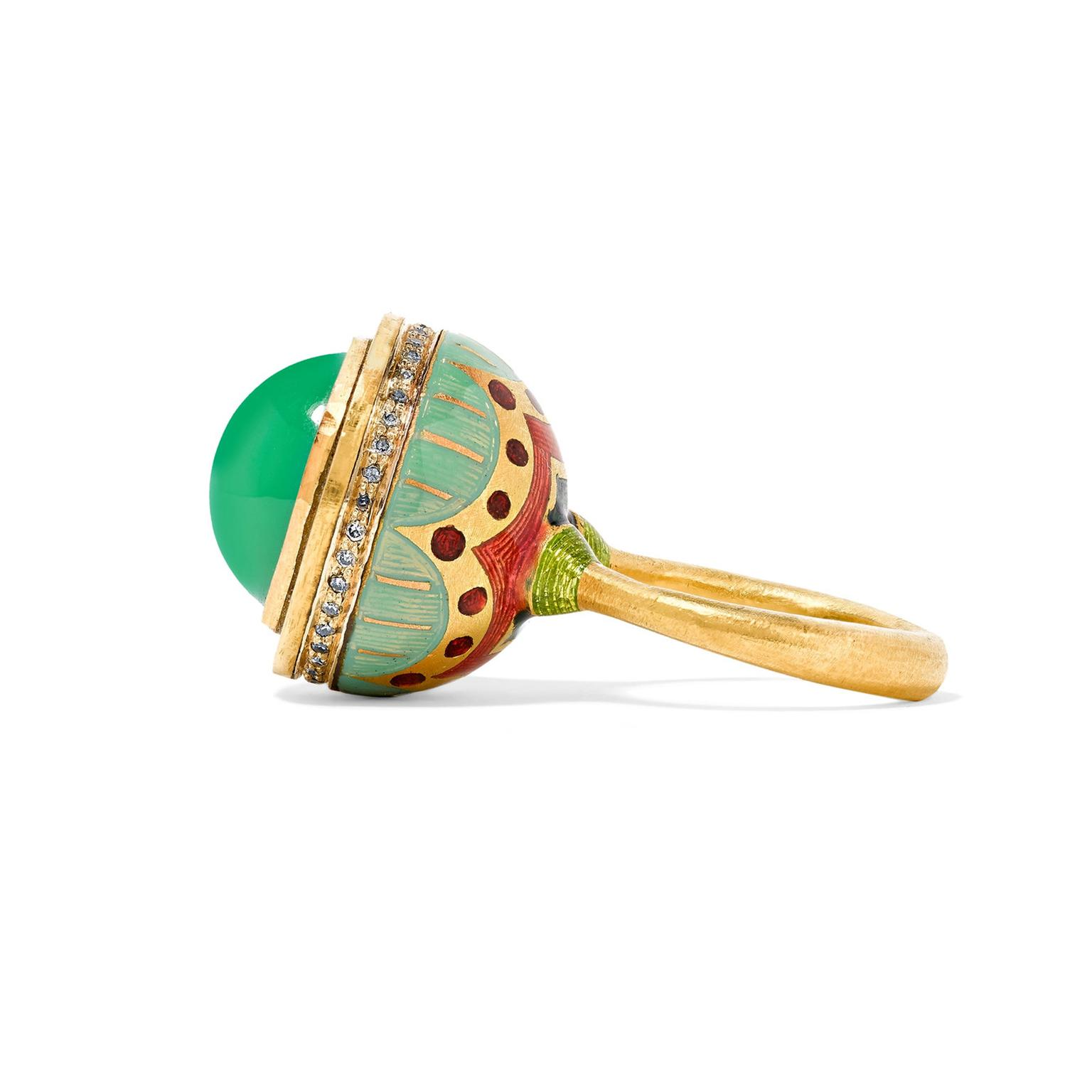 Alice Cicolini enamel and chrysoprase ring side view