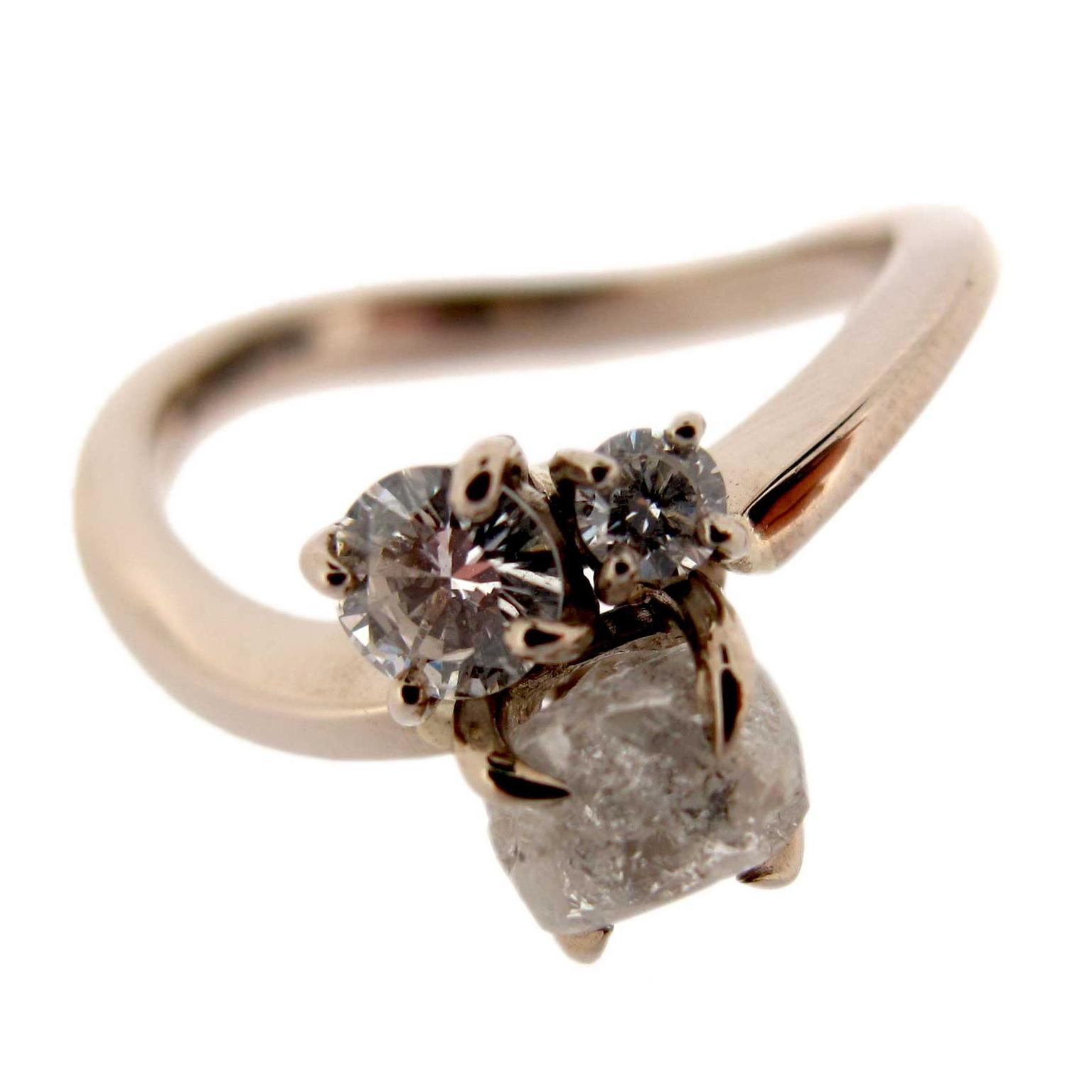 Baroque Jewellery rough and cut diamond trilogy engagement ring
