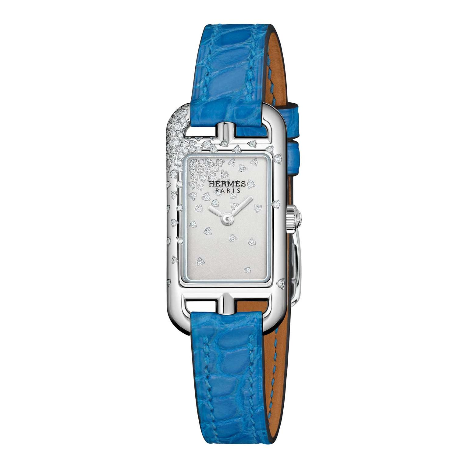 Hermes Nantucket Jete de diamants watch with blue alligator leather strap