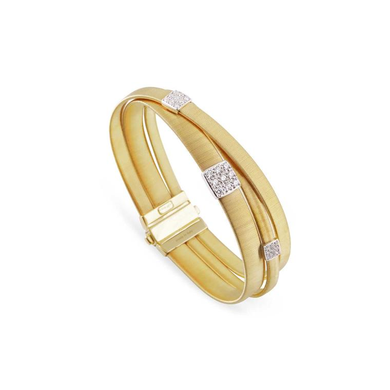 Marco Bicego yellow gold three-strand Masai bracelet with diamonds