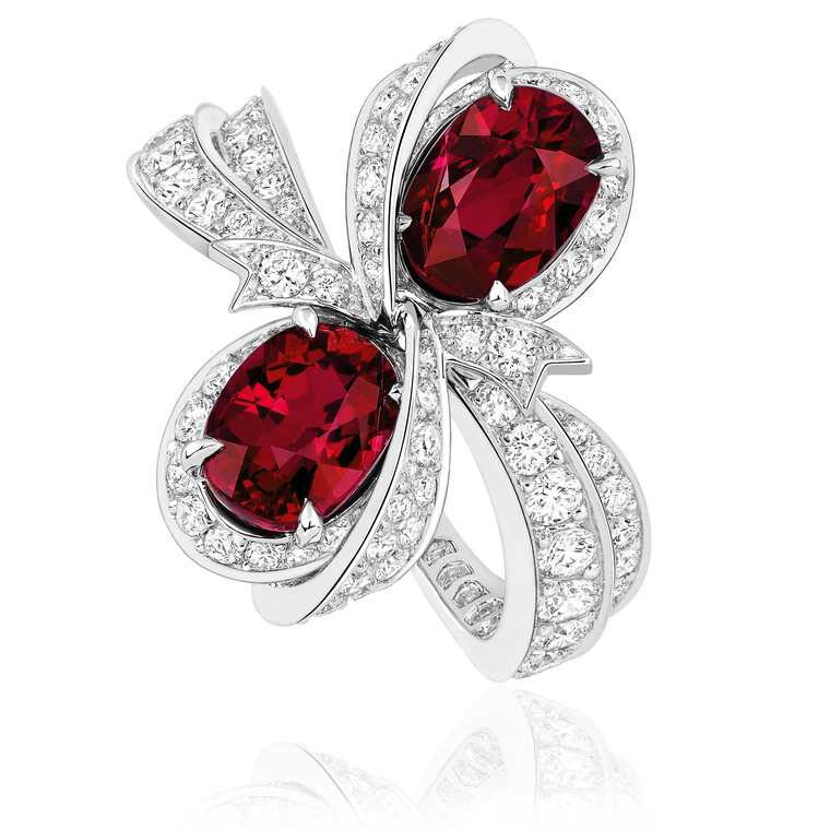 Milieu du Siecle Diamant ruby ring with diamonds