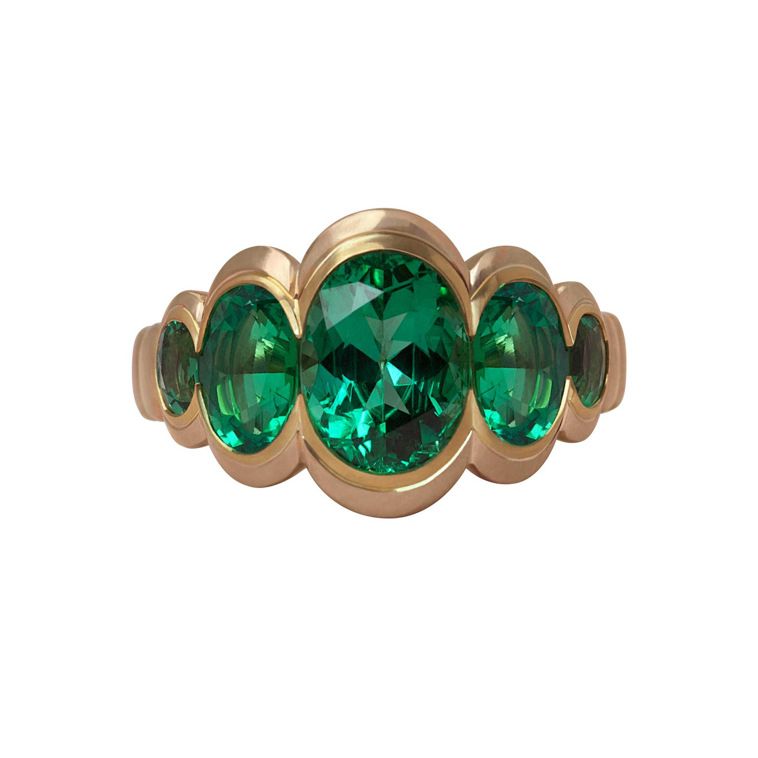 Ming Lampson Caterpillar emerald ring