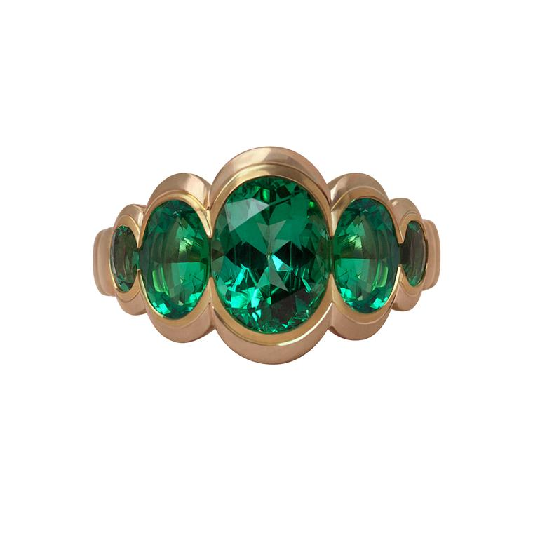 Emerald Caterpillar ring