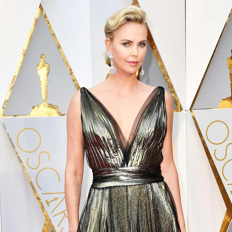 Charlize Theron Oscars Chopard Garden of Kalahari earrings