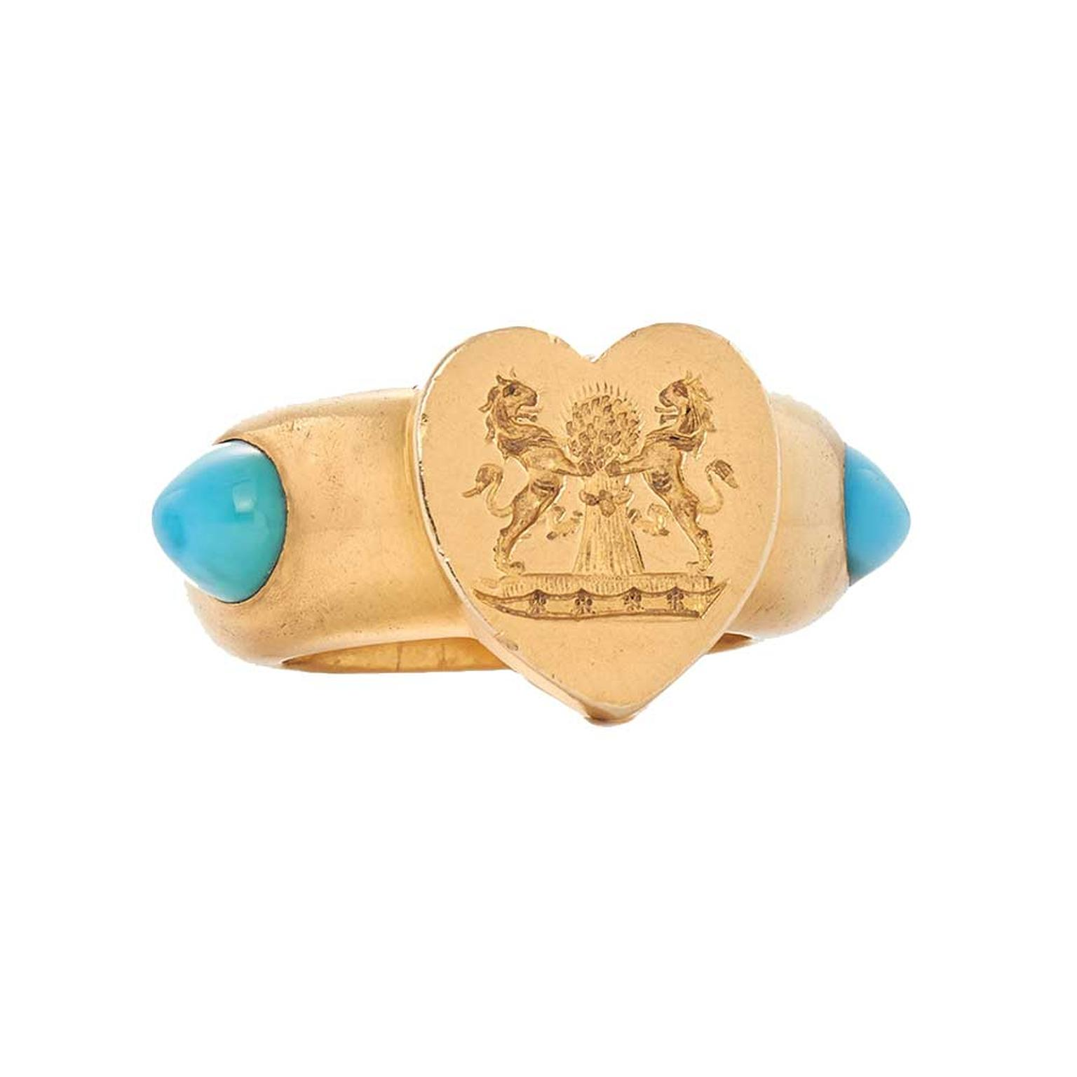 Fred Leighton ring with turquoise cabochons