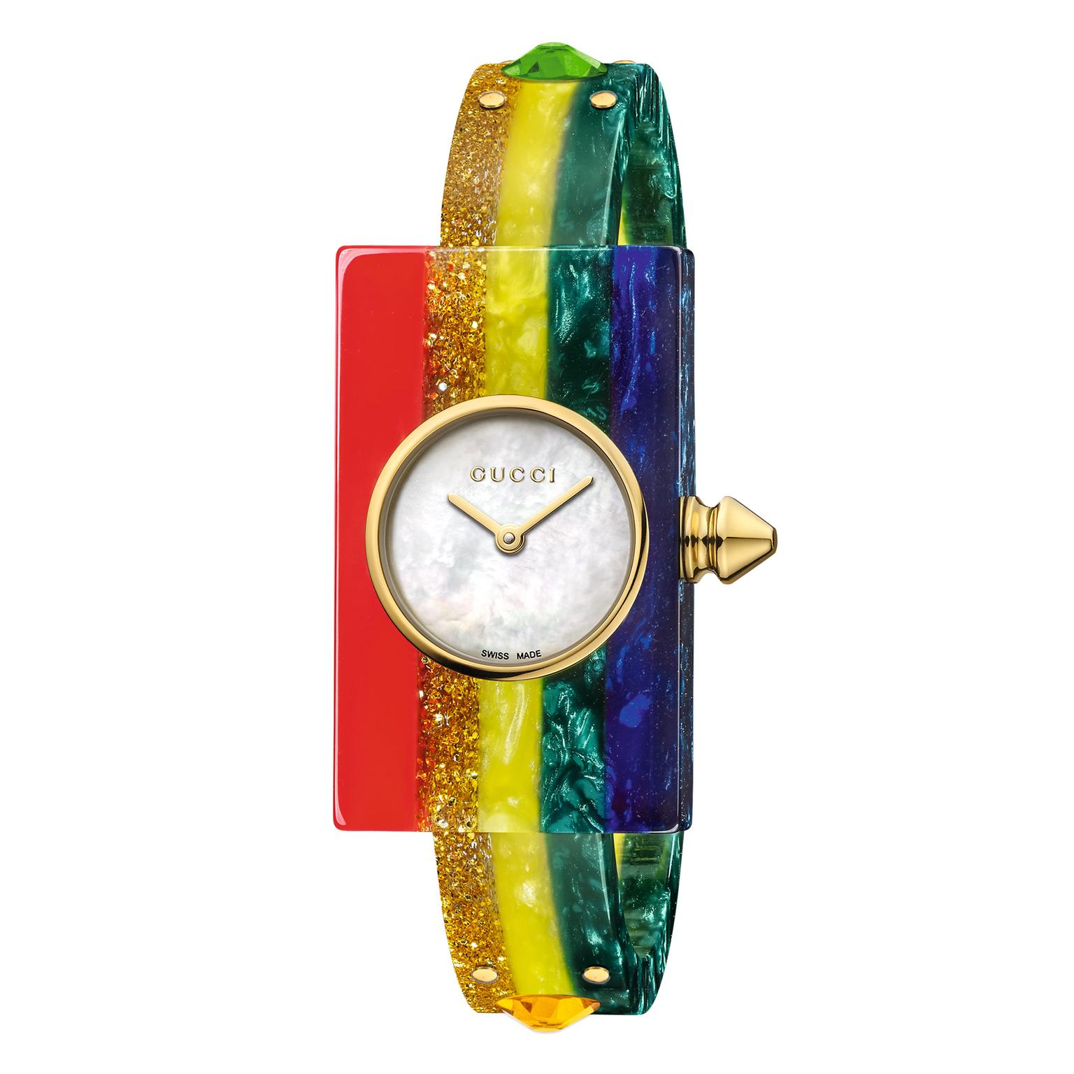 Gucci Rainbow Plexiglas watch