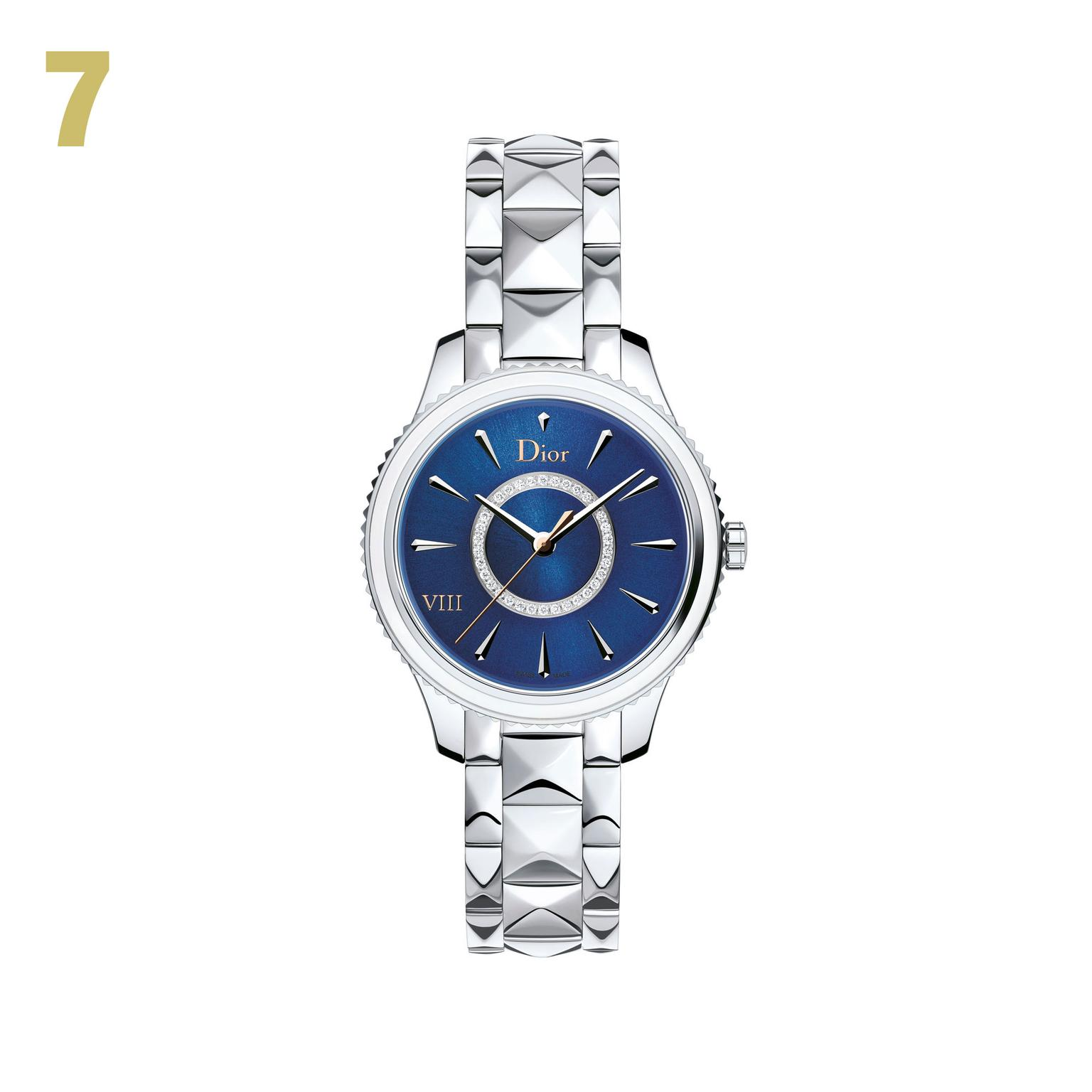 7 Dior VII Montaigne stainless steel watch with blue lacquer dial
