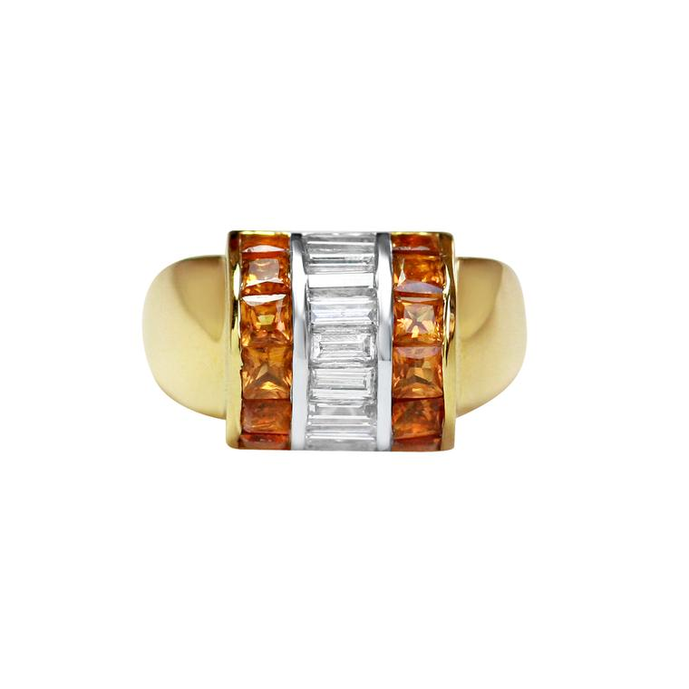 Gee Woods baguette-cut diamond and citrine ring