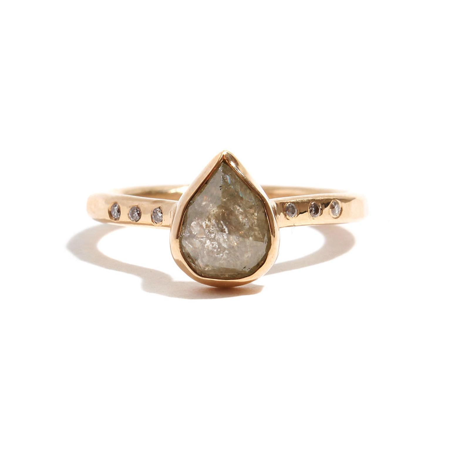 Melissa Joy Manning teardrop diamond ring