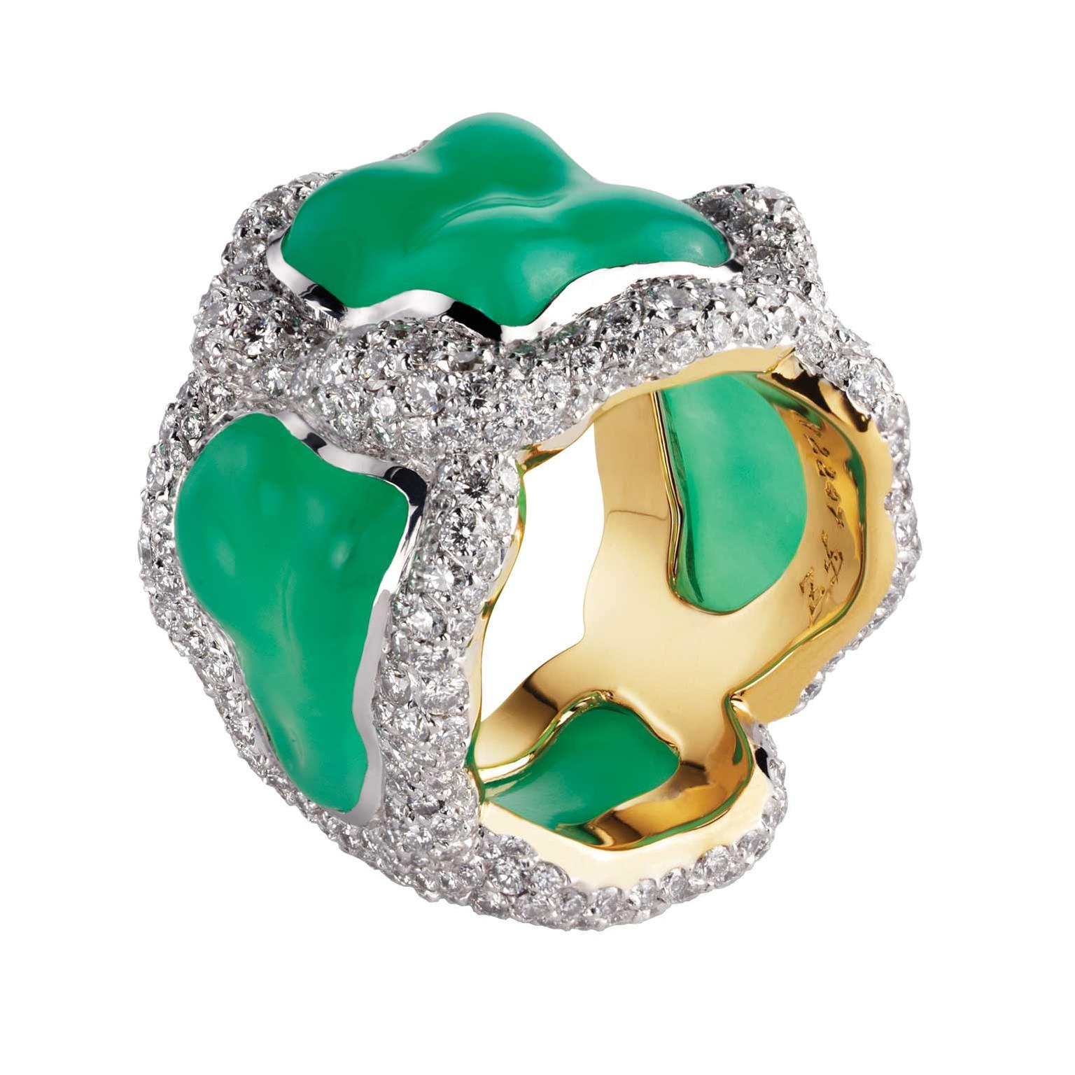 Fabergé Katya chrysoprase ring in white and yellow gold with diamonds