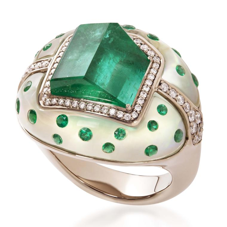 Ring with emeralds and diamonds from Alexander Tenzo