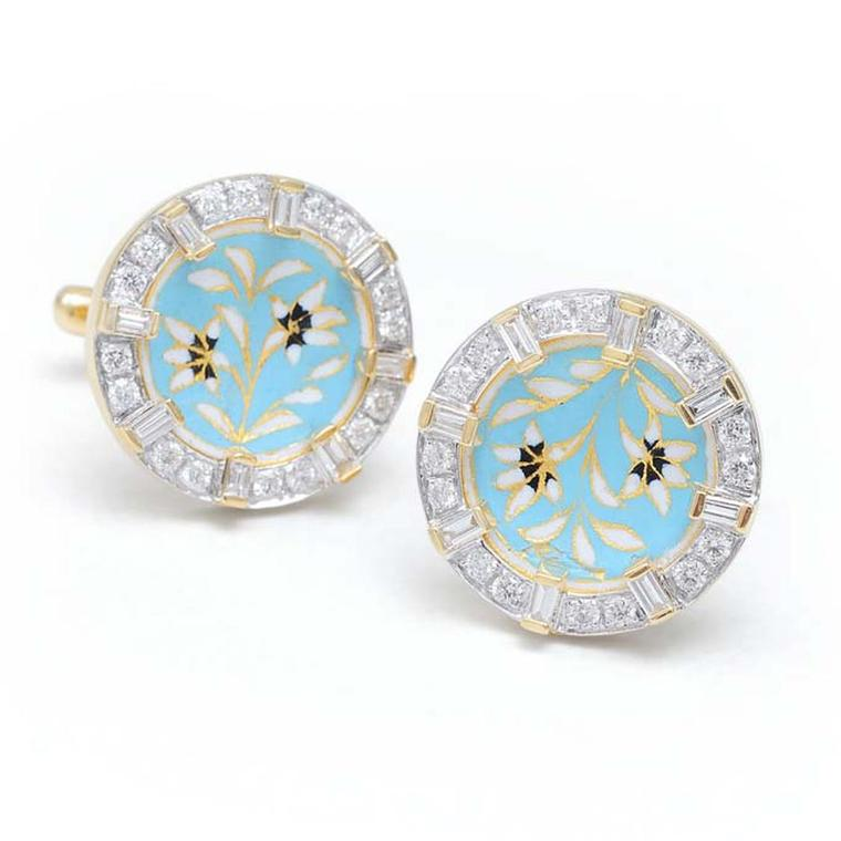 Diamond cufflinks with pastel blue and white floral enamel by designer Farah Khan.