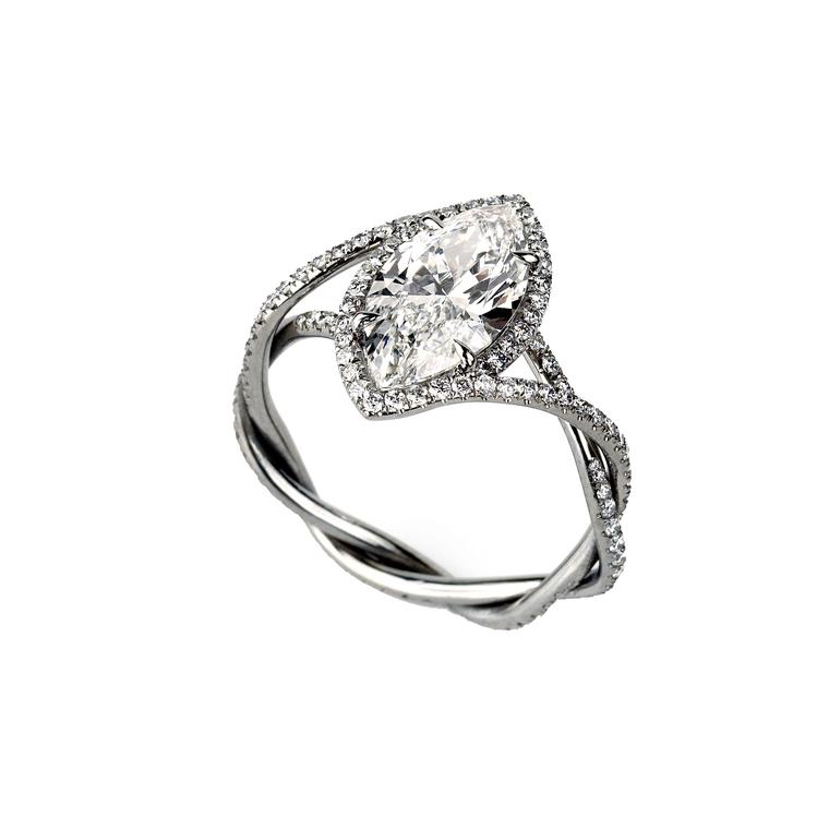Glenn Spiro I Do engagement ring set with a marquise-cut diamond