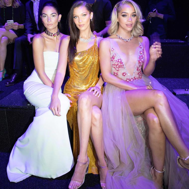 Lily Aldridge, Bella Hadid and Jasmine Sanders at the launch of Bulgari Wild Pop high jewellery collection in Rome June 2018.