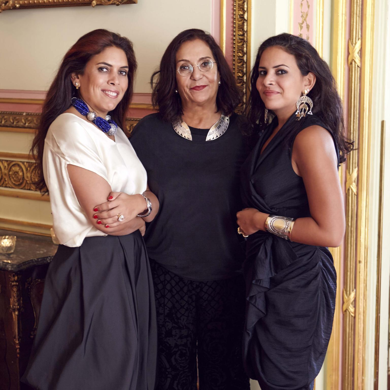 Founder and Creative Design, Azza Fahmy with her daughters Fatma and Amina Ghali