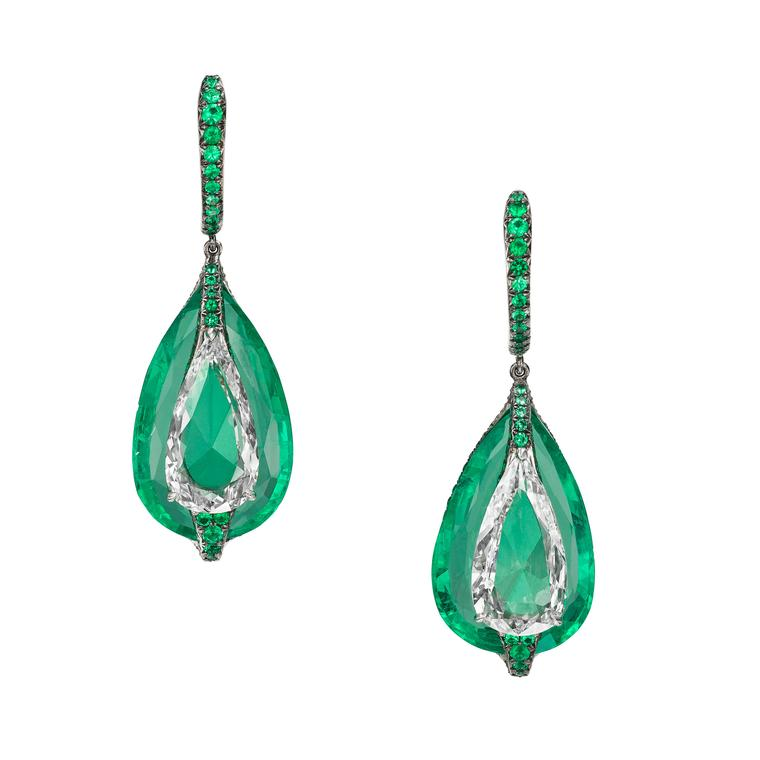 Boghossian High Jewellery emerald and diamond drop earrings
