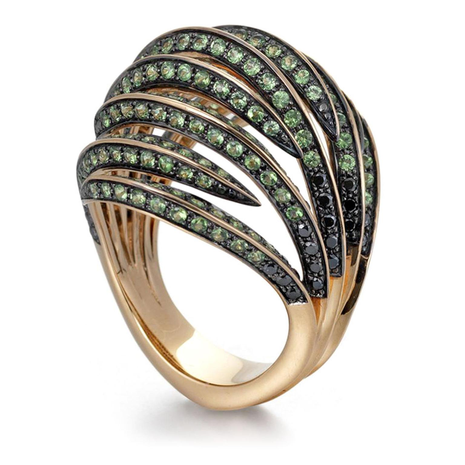 Venus Fly Bombay Ring.  Travosrite, black diamonds, 18ct rose gold by Tomasz Donocik. Price from £5,200