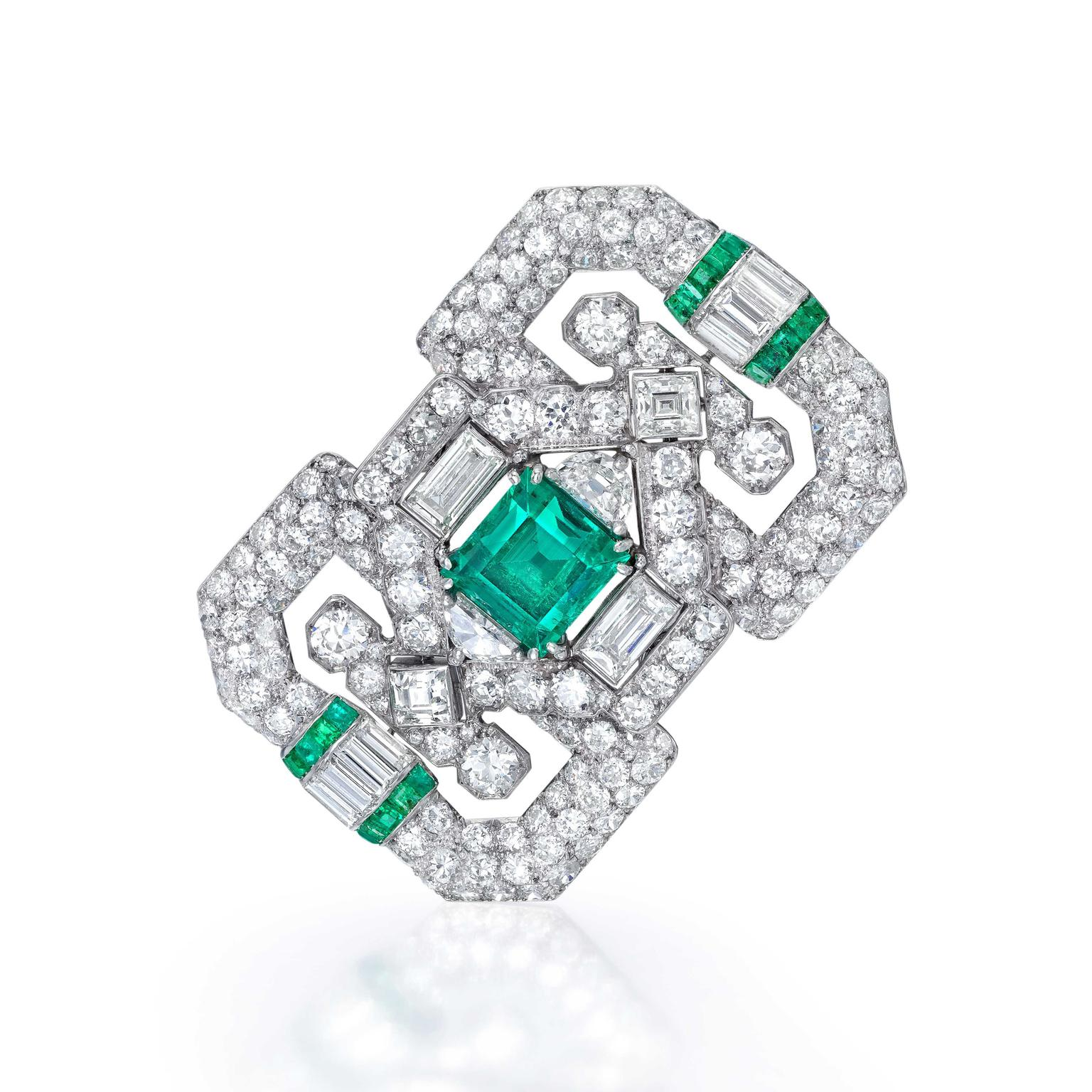 Jackie Collins' emerald and diamond French brooch